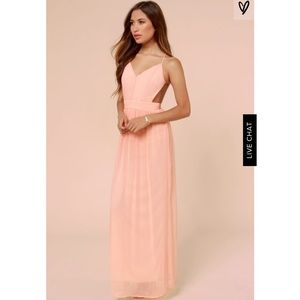 Lulus rooftop garden backless peach maxi dress